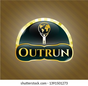 Gold badge with man lifting world icon and Outrun text inside