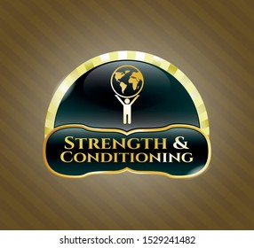 Gold badge with man lifting world icon and Strength and Conditioning text inside