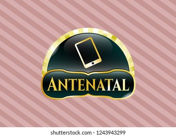 Gold badge with mobile phone icon and Antenatal text inside