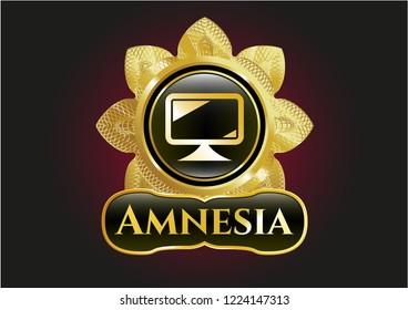 Gold badge with monitor icon and Amnesia text inside