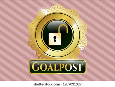 Gold badge with open lock icon and Goalpost text inside