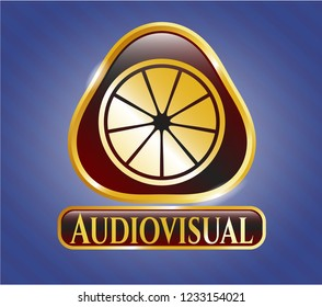 Gold badge with orange icon and Audiovisual text inside