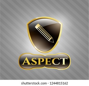 Gold badge with pencil icon and Aspect text inside