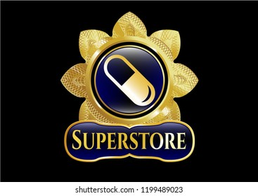 Gold badge with pill icon and Superstore text inside