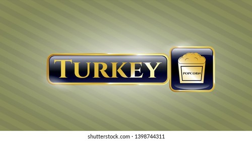 Gold badge with popcorn icon and Turkey text inside