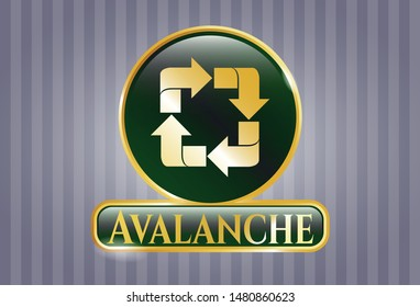 Gold badge with recycle icon and Avalanche text inside