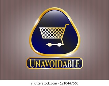 Gold badge with shopping cart icon and Unavoidable text inside
