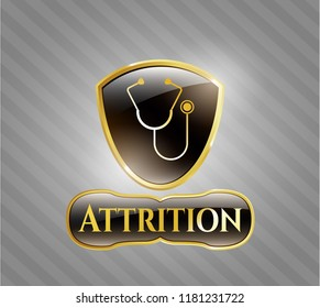 Gold badge with stethoscope icon and Attrition text inside
