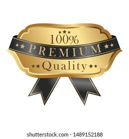 Gold badge template with black ribbon. Premium badge. Vector element