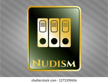 Gold badge with three folders icon and Nudism text inside
