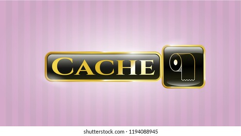 Gold badge with toilet paper icon and Cache text inside