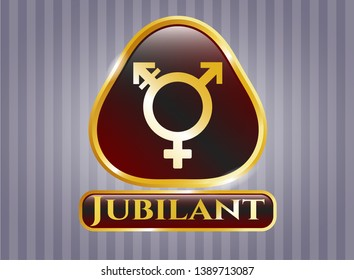 Gold badge with transgender icon and Jubilant text inside