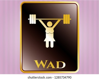Gold badge with weightlifter girl icon and Wad text inside