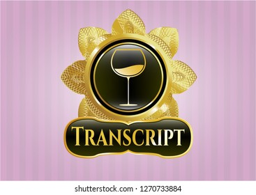Gold badge with wine cup icon and Transcript text inside