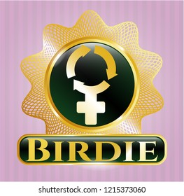 Gold badge with women cycle icon and Birdie text inside