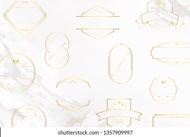 Gold badges on white marble background vector collection