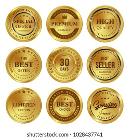 Gold badges seal quality labels with 9 shapes circle on white background stock vector illustration