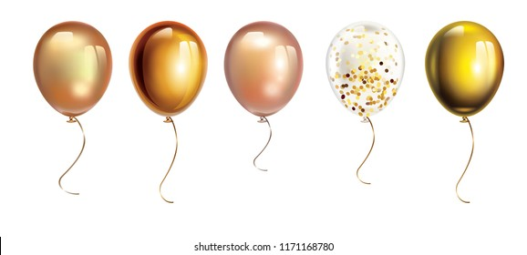 Gold balloons isolated on white. Transparent ballon with gold confetti.  Inflatable air flying balloon realistic 3D vector illustration.
