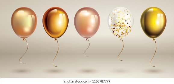 Gold balloons set. Birthday ballon set.  Inflatable air flying balloon realistic 3D vector illustration.