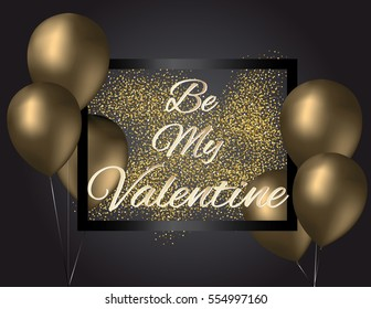 Gold balloons Valentine's Day invitation with black glass frame and gold glitter texture on dark background. Vector illustration.