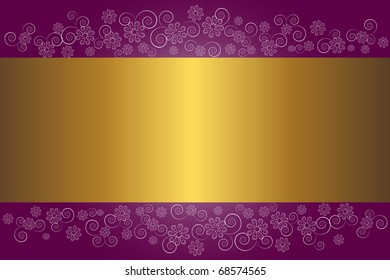 Gold banner on a floral background. vector.