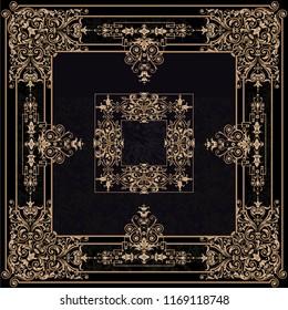 gold baroque classic frame. baroque ornamental elements. decorative frames