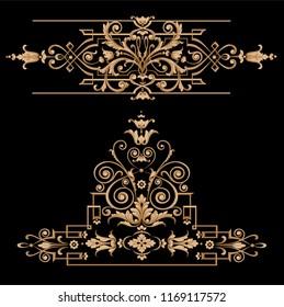 gold baroque elements and borders. classic ornamental elements.