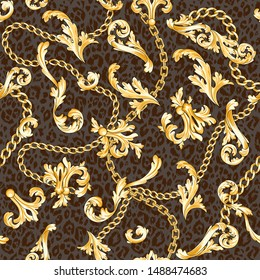 Gold baroque elements and chains mixed on animal backdrop. Trendy seamless pattern.