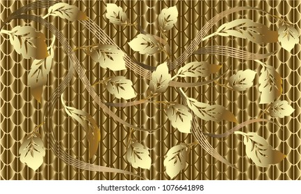 Gold Baroque floral 3d seamless pattern. Vector textured striped golden background. Luxury ornate 3d wallpaper. Leafy modern gold baroque  ornaments with vintage scroll surface leaves. Luxury royal.