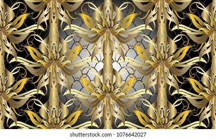 Gold Baroque floral 3d seamless pattern. Vector textured lattice grid shiny background. Luxury ornate 3d wallpaper. Ornate damask ornament. Vintage flowers, scroll leaves. Antique 3d baroque pattern.