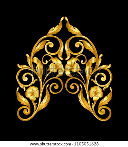 gold baroque frame scroll stock vector royalty free 1105051628