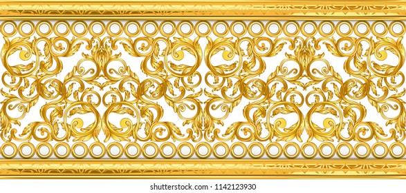 gold baroque frame scroll isolated on black