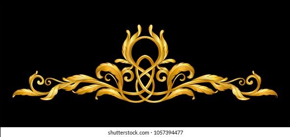 gold baroque frame scroll on black