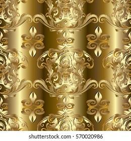 Gold Baroque seamless pattern. 3d golden background. Vector fabric texture.