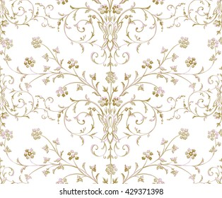 Gold Baroque seamless pattern on a white background.