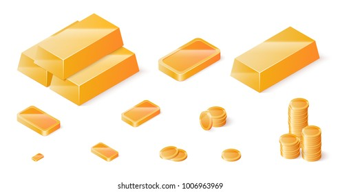 Gold bars and coins set. Isometric vector illustration