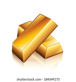 Gold bars isolated on white photo-realistic vector illustration