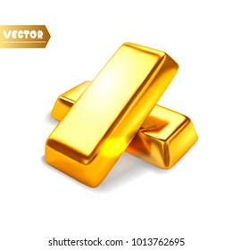 Gold bars isolated. Vector illustration.