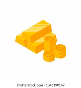 Gold Bars Pile, Isometric, Finance, Business, No background, Coin, Vector, Flat icon, Money illustration of wealth and condition.