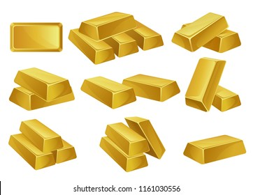 Gold bars set, banking business, prosperity, treasure siymbols vector Illustrations on a white background