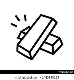 Gold bars stack icon. flat outline style. Business trading icon vector illustration. EPS 10