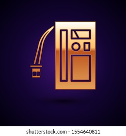 Gold Battery icon isolated on dark blue background. Accumulator battery energy power and electricity accumulator battery.  Vector Illustration