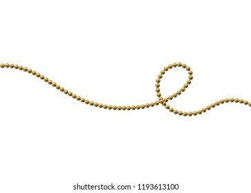 Gold beads on a white background. A beautiful chain of yellow color. Net beads are realistic. Decorative element from golden ball design.vector illustration.