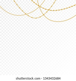 Gold beads on a white background. Set of gold beads and gold chains. Different models and forms of gold beads. Realistic image of beads. Vector illustration.