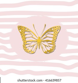 Gold beautiful butterfly on striped background, T-shirt design for girls vector illustration.