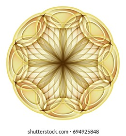 Gold Beautiful Decorative Ornate Mandala. Floral Ethnic Arabic Amulet. Art Deco, Asian Style Design Element. Realistic Vitrage Ornaments. Vector 3d Illustration. Ornamental Abstraction