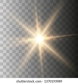 Gold beautiful light explodes with a transparent explosion. Vector, bright illustration for perfect effect with sparkles. Transparent shine of the gloss gradient, bright flash. Vector illustration
