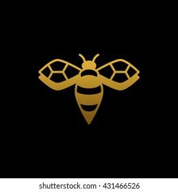Gold bee logo on black background. Business symbol. Vector illustration.