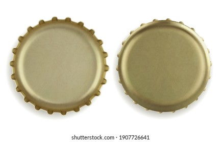 Gold beer bottle caps. Top and back view. Realistic vector illustration