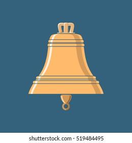 Gold Bell , Flat Design , Ship Equipment, Vector Illustration